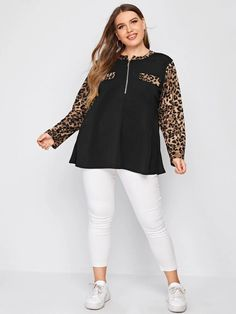 Stylish Dresses, Stylish Outfits, Flattering Plus Size Dresses, Trendy Tops For Women, Ladies Tops, Plus Size Girls, Fabric Bags, White Jeans, Looks Great