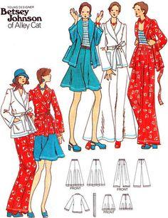 ... Skirt Shawl Collar Jacket 1970s