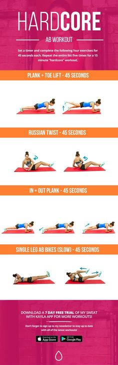 """When most people think of their core, the first thing that they think of is abs. Did you know that a """"strong core"""" is so much more than having toned abs or a six pack? While these are not the only muscles that make up your core, I've written this workout to help challenge some of your deeper ab muscles - such as your transverse abdominus and your obliques! I think you will love this one ;) Set a timer and complete the following four exercises for 45 seconds each. Repeat the entire list five…"""