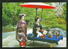 2 Geisha Maiko Girls Beauties Tea Ceremony Japan | eBay