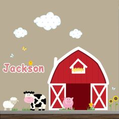 Barnyard Farm Animals Wall Art Decals Stickers Kids Room Decor Toddler Boy Bedroom Ideas Pinterest Decal And Rooms