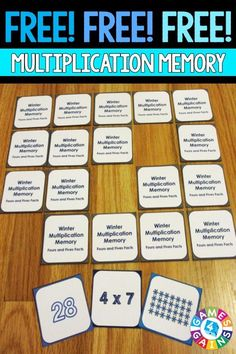 FREE Winter Multiplication Memory Game makes practicing fours and fives multiplication facts fun! Maths 3e, Math Multiplication, Math Skills, Math Lessons, Math Resources, Math Activities, Winter Activities, Math Groups, Fourth Grade Math