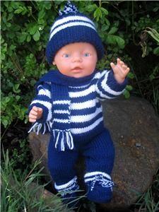 Jojo pdf knitting pattern for doll clothes to suit 16 17 inch 40 43 cm baby dolls such as baby born modele de tricot pour poupee tricoter un bel ensemble pour poupon Baby Born Clothes, Boy Doll Clothes, Knitting Dolls Clothes, Doll Clothes Patterns, Clothing Patterns, Baby Knitting Patterns, Knitted Doll Patterns, Knitted Dolls, Baby Patterns