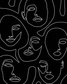 Abstract Face Art, One Line Face Drawing Sketch Modern Illustration Prints, Printable Minimalist Line Art Print, Large Prints Wall Art Decor Tumblr Wallpaper, Wallpaper Backgrounds, Wallpapers, Wallpaper Desktop, Black Wallpaper, Disney Wallpaper, Wallpaper Quotes, Wit And Delight, Arte Sketchbook