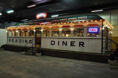 Bethany Children's Home Cottage Day Trip Idea: A vintage 1938 O'Mahony diner, the Reading Diner was originally open in Exeter, PA. In Boyertown,PA Museum Vintage Diner, Retro Diner, Hd Diner, Diner Decor, Food Truck Design, American Diner, Hotel Motel, Soda Fountain, Top Restaurants