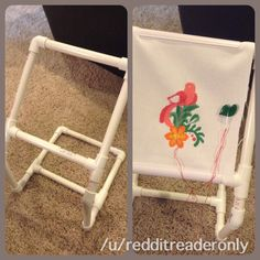 Lap frame to prevent slouching. Tutorial at https://mommyfang.wordpress.com/2012/07/11/making-your-own-pvc-lapstand/