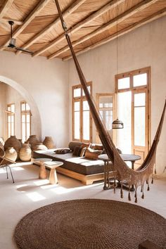 Luxury Home Interior Hammock for the tranquil stone house.Luxury Home Interior Hammock for the tranquil stone house Home Interior, Interior Architecture, Interior And Exterior, Exterior Design, Exterior Doors, Natural Interior, Interior Livingroom, Balinese Interior, Ibiza Style Interior