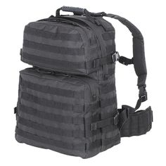 "Identical to 3-day assault pack but a full one-third larger for added carrying capacity. Comes with a rubber drag handle, a molded custom back panel for increased comfort, removable, adjustable contoured shoulder straps with metal ""D"" rings, a new removable, adjustable padded kidney belt with side release buckle (Hide them away when not in use) and lots of universal attachment straps including the side and bottom of the pack so you can add pouches, bedding, etc. Add a hydration bladder and…"