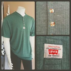 Vintage green ribbed boron front tee by Levis Strauss Men's Vintage, Vintage Levis, Vintage Green, Vintage Clothing, Vintage Outfits, Green Tee, Levi Strauss, Polo Ralph Lauren, Men Casual