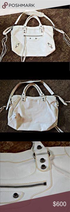 Balenciaga White City Bag White used Balenciaga metallic edge city bag Balenciaga Bags Satchels