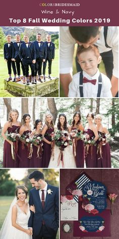 Top 8 fall wedding color trends and ideas for 2019 Wine and Navy - Fall wedding color palettes - Hochzeit Ideen Fall Wedding Flowers, Fall Wedding Colors, Wedding Ideas For Fall, Colors For Weddings, Wedding Color Schemes Fall Rustic, Wedding Color Palettes, Wedding Color Themes, Wedding Planning Ideas, November Wedding Colors