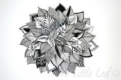 "Original Abstract Floral Zentangle Drawing 8x10"" Unframed. $30.00, via Etsy."