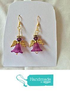 Dark Purple Crystal and Flower Angel Earrings from Southern Women Crafts http://www.amazon.com/dp/B01CITYPIS/ref=hnd_sw_r_pi_dp_Yax.wb1HCAS43 #handmadeatamazon