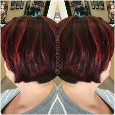 Garnet & Ruby Red Hair on a cropped bob.