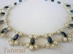 PDF tutorial lace beaded necklace seed bead pearl oval bead: