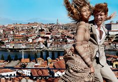 Angel Face - Her long-sleeved, high-necked lace floor-sweeper sounds awfully innocent—here,though, ecru looks nude, and elaborate lattices play against tawny skin. Hadid in a Burberry dress; burberry.com. Gleeson in a Burberry London suit and Hermès shirt.