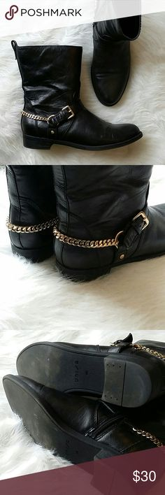 Genuine Leather Moto Boots Genuine leather black Moto boots with gold chain detail - size 9 - fits true to size Shoes Combat & Moto Boots