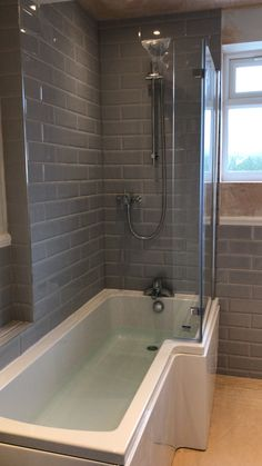 L Shaped Bathroom Layout . L Shaped Bathroom Layout . Beautiful L Shape Bath Stunning Linear Grey Brick Style Metro Tiles Bathroom, Grey Bathrooms, Bathroom Layout, Grey Grout Bathroom, Bathroom Ideas, Bathroom Taps, Bathroom Colors, Shower Ideas, Bathroom Design Small