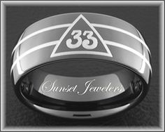 Black Tungsten Carbide Freemason 33rd Emblem with 2 Laser Lines Around Ring, Masonic Bands. Free Inside Engraving and Shipping.