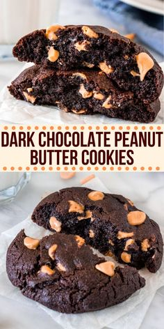 These dark chocolate peanut butter cookies are thick, extra fudgy, and have a rich chocolate flavor. One part brownie + one part chocolate cookie + one part peanut butter = one extra delicious cookie! from Just So Tasty Peanut Butter Chip Cookies, Chip Cookie Recipe, Chocolate Chip Cookies, Cookie Recipes, Dessert Recipes, Cookie Butter, Cookie Flavors, Peanut Butter Cheesecake, Peanut Butter Brownies