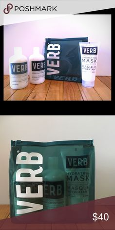 NEW! VERB Holiday Set This set features: 12 fl oz HYDRATING SHAMPOO, 12 fl oz HYDRATING CONDITIONER, & 6.8 oz HYDRATING MASK and a plastic zip travel pouch. All products are Paraben, Sulfate and Gluten free! The product has a nice clean scent and is not heavy! Get your hair in condition now for the dry winter months we have coming 😘 VERB Other
