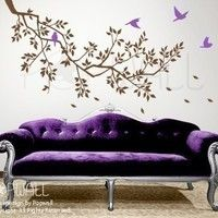 vinyl wall sticker decal - Spring Branch and Flying Birds - 071