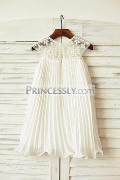 Beaded Ivory Chiffon Flower Girl Dress