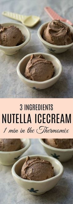 This Thermomix Nutella Ice Cream is made from only 3 ingredients - frozen banana, Nutella and vanilla extract and takes just a minute to make in the Thermomix. A quick and easy ice cream to make with just bananas, Nutella and vanilla extract! Thermomix Icecream, Thermomix Desserts, Healthy Dessert Recipes, Thermomix Recipes Healthy, Thermomix Bread, Vegetarian Recipes, Frozen Banana Recipes, Desserts Nutella, Bellini Recipe