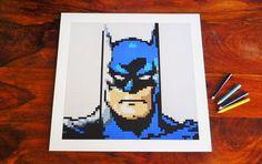 "Batman print of original Lego® mosaic (12"" square) by OxfordBrickArt on Etsy"