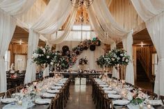 30 Rustic Barn Wedding Reception Ideas with Draped Fabric – Hi Miss Puff