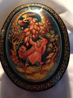 Russian Oval Lacquer Box Unsigned The Boy and The Firebird | eBay