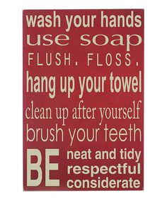 Take a look at this Barn Red 'Bathroom Rules' Wall Art by Vinyl Crafts on #zulily today!