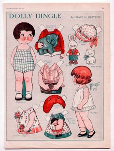 Vintage DOLLY DINGLE paper dolls June 1930 uncut/BROTHER & SISTER/Grace Drayton #PaperDolls