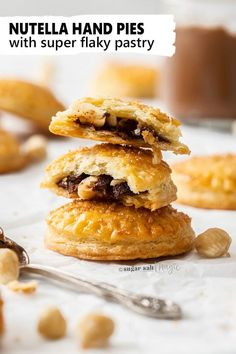 These easy Nutella Hand Pies are filled with soft, gooey nutella and crunchy hazelnuts. With the best ever sweet flaky pastry from scratch, these hazelnut and chocolate hand pies are irresistible. Homemade Pastries, Homemade Desserts, Best Dessert Recipes, Desert Recipes, Easy Desserts, Sweet Recipes, Hand Pies, Pavlova, Cheesecake Oreo