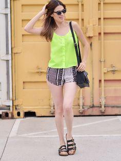 NeonLime Sheer Button-Down Tank | $9.99 | Cheap Trendy Tank Tops Chic Discount Fashion for Women | M