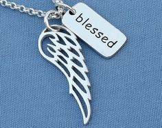 Blessed Necklace Angel Wing, Sterling Silver,Faith Necklace,Faith Jewelry,Blessed Angel,Memorial,Simple,Everyday,Minimal,Modern - pinned by pin4etsy.com