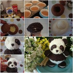 DIY Panda Cupcakes cupcakes diy recipe recipes cupcake recipes diy ideas food art kids recipes food tutorials