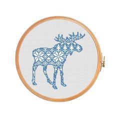 Christmas moose nordic pattern cross by PatternsCrossStitch
