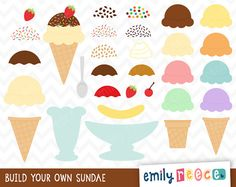 Ice Cream Maker Sundae Banana Split Cute Clip Art - Commercial Use - Scrapbooking Invitations Cards - Instant Download