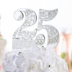 Tortendeko Silberhochzeit 25 Years mit Ornamenten
