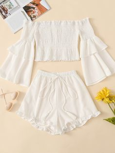 Frill Trim Layered Sleeve Top With Shorts - Ropa Tutorial and Ideas Cute Girl Outfits, Cute Summer Outfits, Cute Casual Outfits, Outfits For Teens, Pretty Outfits, Stylish Outfits, Beautiful Outfits, Matching Outfits, Two Piece Outfits Shorts