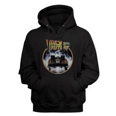 Back to the future man's HoodIe. Jersey lined hood. Colorful Hoodies, Cool Hoodies, Black Hooded Sweatshirt, Mens Back, Movie T Shirts, Back To The Future, Mens Sweatshirts, Printed Shirts, Pullover