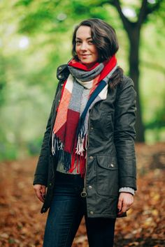 Carly wears the Barbour Squire Waxed Cotton Jacket