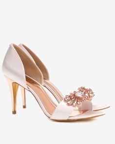 Embellished cut out court shoes - Nude Pink | Shoes | Ted Baker