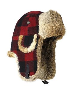 d4517ec2287ee Mad Bomber Wool Bomber Hat with Real Rabbit Fur Red Plaid Medium     Click