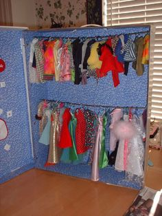 DIY Barbie clothes closet - before everything gets mixed up or lost and a Totally Frustrated mom