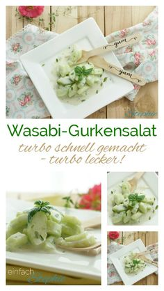 Wasabi cucumber salad: turbo-fast side salad for grilling - pinnerish Slow Food, Spicy Cucumber Salad, Side Salad, Heartburn, Potato Salad, Side Dishes, Grilling, Bbq, Stuffed Peppers