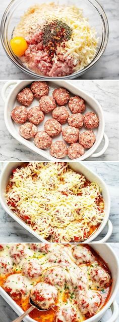 Cheesy Meatballs Casserole {Low Carb} - - Looking for a great low carb dinner option? This low carb turkey meatball casserole recipe is absolutely fabulous. - by food recipes meals Cheesy Meatballs Casserole {Low Carb} Turkey Meatball Casserole Recipe, Meatball Recipes, Ground Chicken Casserole, Meatball Meals, Meatball Bake, Hamburger Casserole, Skillet Chicken, Comida Keto, Health Dinner