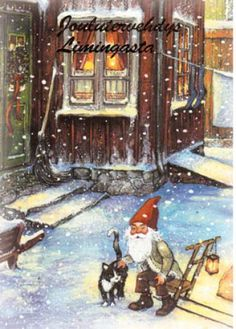 kabouter met poes Old World Christmas, White Christmas, Christmas Cards, David The Gnome, Yule, Scandinavian Folk Art, Goblin, Cool Drawings, Elves