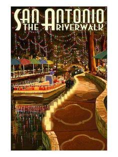 San Antonio, Texas - The Riverwalk - Lantern Press Artwork Giclee Gallery Print, Wall Decor Travel Poster), Multi San Antonio Texas Riverwalk, Wisconsin, Michigan, Pub, River Walk, Texas Travel, Vintage Travel Posters, Vintage Postcards, Vintage Signs